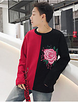 Men's Casual/Daily Sweatshirt Print Color Block Round Neck Micro-elastic Polyester Long Sleeve Fall
