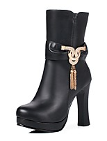 Women's Shoes PU Fall Winter Comfort Boots Chunky Heel Round Toe Rhinestone Zipper Chain For Outdoor Office & Career Black White