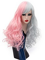 Women Synthetic Wig Capless Long Deep Wave Pink/Grey Halloween Wig Costume Wigs