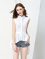 NO PEI SHU Women's Casual/Daily Simple Summer Fall Shirt,Solid Crew Neck Sleeveless Cotton Medium