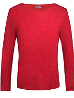 Men's Going out Casual/Daily Regular Pullover,Solid Round Neck Long Sleeves Cotton Fall Winter Medium Micro-elastic