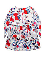 Girl's Back to School Casual/Daily Holiday Floral Dress,Cotton Bamboo Fiber Acrylic All Seasons Long Sleeve