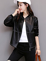 Women's Casual/Daily Simple Fall Winter Leather Jacket,Solid V Neck Long Sleeve Short PU