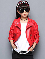 Girls' Solid Jacket & Coat,PU Fall Winter Long Sleeve