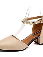 Femme Chaussures Polyuréthane Eté Confort Chaussures à Talons Gros Talon Bout rond Perle Pour Décontracté Noir Beige Marron