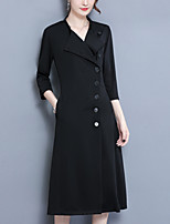 Women's Plus Size Going out Simple Street chic Sheath DressSolid Stand Midi Knee-length 3/4 Length Sleeves Polyester Fall Winter Mid Rise