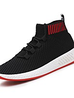 Men's Shoes Breathable Mesh PU Spring Fall Comfort Athletic Shoes Track & Field Shoes Lace-up For Athletic Outdoor Black/Red Gray Black