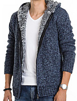 Men's Going out Casual/Daily Regular Cardigan,Solid Shirt Collar Long Sleeves Others Fall Medium Micro-elastic