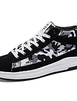 Women's Shoes Rubber Spring Fall Comfort Sneakers Flat Heel Round Toe Lace-up For Outdoor Black/Blue Black