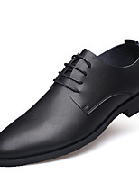 Men's Shoes Real Leather Leather Fall Winter Comfort Formal Shoes Oxfords Lace-up For Casual Office & Career Black