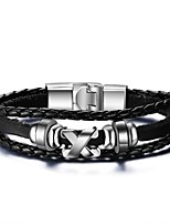 Men's Leather Bracelet Hip-Hop Rock Leather Titanium Steel Tube Jewelry For Party Birthday Gift Evening Party