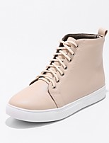 Women's Shoes PU Fall Winter Comfort Sneakers Flat Heel Round Toe Lace-up For Outdoor Office & Career Blushing Pink Beige Black