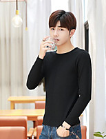 Men's Casual/Daily Regular Pullover,Solid Round Neck Long Sleeves Others Fall Winter Medium Micro-elastic