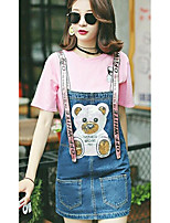Women's Going out Cute Summer T-shirt,Solid Round Neck Short Sleeves Cotton Opaque