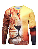 Sweatshirt Homme Sortie Décontracté / Quotidien simple Actif 3D Print Col Arrondi Micro-élastique Polyester Manches longues Automne