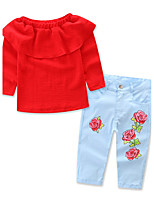 Ensembles Fille Couleur Pleine Fleur Imprimé Coton Polyester Printemps Automne Manches longues Ensemble de Vêtements