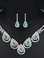 Women's Drop Earrings Necklace Synthetic Emerald AAA Cubic Zirconia Classic Elegant Cubic Zirconia Drop Earrings Necklace For Wedding