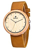 Men's Women's Fashion Watch Wood Watch Japanese Quartz Wooden Genuine Leather Band Charm Elegant Casual Brown