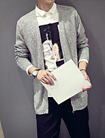 Men's Casual/Daily Regular Cardigan,Solid V Neck Long Sleeves Cotton Fall Thin Micro-elastic