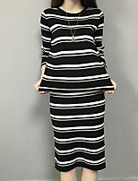 Women's Going out Casual/Daily Street chic Fall Winter Shirt Skirt Suits,Striped Round Neck Long Sleeve Micro-elastic