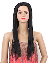 Women Synthetic Wig Capless Long Straight Black Braided Wig Natural Wigs Costume Wig
