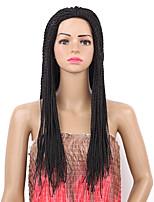 Femme Perruque Synthétique Sans bonnet Long Raide Noir Perruque tressée Perruque Naturelle Perruque Déguisement