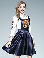 Damen Skater Kleid-Ausgehen Lässig/Alltäglich Street Schick Stickerei Hemdkragen Knielang Langarm Polyester Herbst Hohe Hüfthöhe