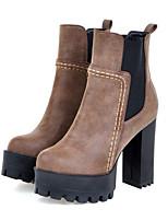 Feminino Sapatos Camurça Outono Inverno Conforto Inovador Botas da Moda Curta/Ankle Botas Salto Grosso Ponta Redonda Botas Curtas / Ankle