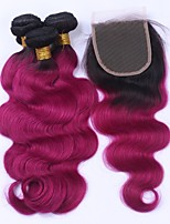 Human Hair Malaysian Hair Weft with Closure Body Wave Hair Extensions 4 Pieces Black/Dark Wine