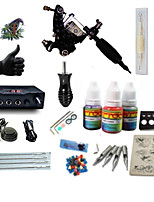 Starter Tattoo Kit 1 steel machine liner & shader Tattoo Machine LCD power supply 1 × 5ml Tattoo Ink 1 x aluminum grip 2 x disposable grip