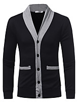 Men's Going out Casual/Daily Simple Regular Cardigan,Solid V Neck Long Sleeves Cashmere Wool Fall Winter Medium Micro-elastic