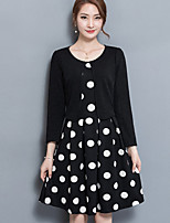 Women's Plus Size Going out Street chic A Line Dress,Polka Dot Round Neck Knee-length Long Sleeves Polyester Fall Mid Rise Micro-elastic