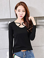 Women's Going out Casual/Daily Simple Fall Winter T-shirt,Solid Round Neck Long Sleeves Cotton