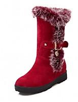 Feminino Sapatos Courino Outono Inverno Botas da Moda Botas Anabela Ponta Redonda Botas Curtas / Ankle Presilha Para Casual Preto Vermelho