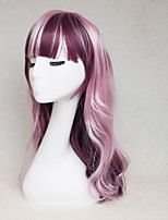 Women Synthetic Wig Capless Long Wavy Deep Wave Purple Highlighted/Balayage Hair With Bangs Party Wig Halloween Wig Cosplay Wig Costume