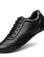 Herren Schuhe Echtes Leder Nappaleder Leder Frühling Herbst Komfort Tauchschuhe Sneakers Schnürsenkel Für Normal Schwarz