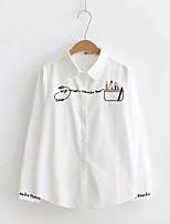 Для женщин На выход На каждый день Весна Осень Рубашка Рубашечный воротник,Секси Простое Уличный стиль Однотонный Вышивка Буквы Длинный