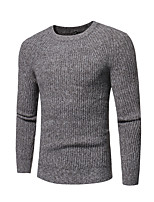 Men's Casual/Daily Simple Regular Pullover,Solid Round Neck Long Sleeves Cotton Polyester Fall Winter Medium Stretchy