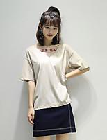 Tee-shirt Femme,Couleur Pleine Décontracté / Quotidien simple Eté Manches Courtes Col en V Coton