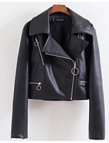 Women's Going out Casual/Daily Sexy Street chic Summer Fall Leather Jacket,Solid Shirt Collar Long Sleeve Short PU