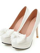 Femme Chaussures Polyuréthane Printemps Automne Confort Nouveauté Chaussures à Talons Talon Aiguille Bout rond Noeud Pour Mariage Soirée