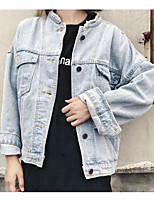 Women's Going out Casual/Daily Sexy Street chic Fall Winter Denim Jacket,Solid Shirt Collar Long Sleeve Regular PU