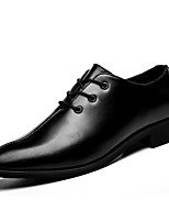 Men's Shoes Leather Spring Fall Comfort Oxfords Lace-up For Casual Brown Black