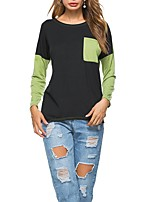 Women's Casual/Daily Sexy Fall T-shirt,Color Block Round Neck Long Sleeves Cotton Polyester Medium