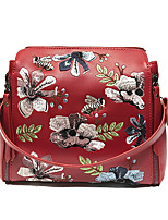 Women Bags All Seasons PU Shoulder Bag Pattern / Print Zipper for Event/Party Casual Black Red