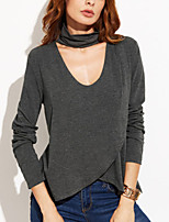 Women's Going out Casual/Daily Sexy Simple Spring Fall T-shirtSolid Halter Long Sleeves Polyester Medium