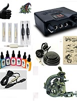Starter Tattoo Kit 1 alloy machine liner & shader LED power supply 7 × 15ml Tattoo Ink 5 x disposable grip Complete Kit