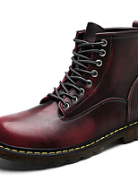 Men's Shoes Leather Fall Comfort Fashion Boots Combat Boots Boots Lace-up For Casual Outdoor Burgundy Brown Gray Black