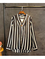 Women's Going out Casual/Daily Simple Street chic Spring Fall Shirt,Striped Color Block V Neck Long Sleeves Cotton Thin Medium