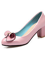 Women's Shoes Patent Leather Spring Fall Comfort Heels Chunky Heel Round Toe Bowknot For Outdoor Office & Career Blushing Pink Blue Black